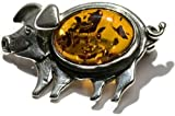 Sterling Silver Amber Antique Collectable Happy Pig Brooch
