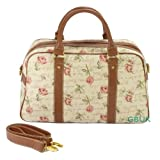 Tapestry canvas Weekend (small) bag with shoulder strap (Cabin Bag/Travel Bag/Day Bag) Pink Rose - Gobelin Styleby Green Bear QHS