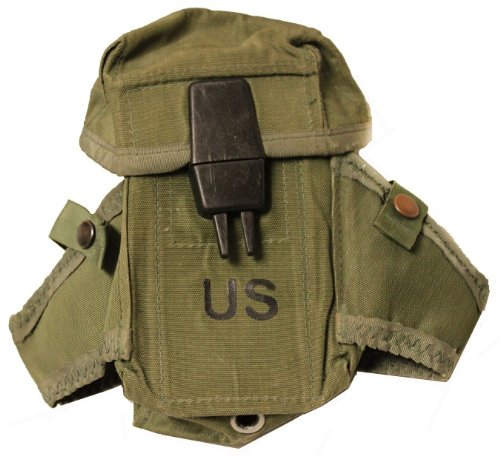 Ultimate Arms Gear Surplus Genuine USGI Military Issue OD Olive Drab Green M16 & AR-15 Rifle Magazine Mag Ammo Small Arms Pouch Case With Dual Grenade Carrier & ALICE Attachment Clips