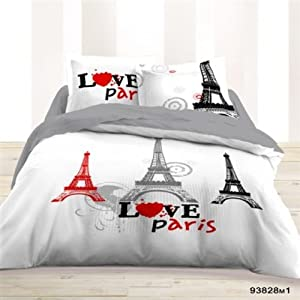 Housse de couette 220x240 2 taies love paris les for Housse de couette paris 1 place