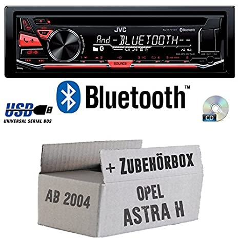 Opel Astra H matt chrom - JVC KD-R771BT - Bluetooth CD/MP3/USB Autoradio - Einbauset