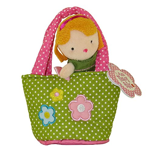 Aurora World Plush - Mini Fancy Pals Doll Carrier - GIRL in Polka Dot with Flowers Carrier (5 inch) - 1