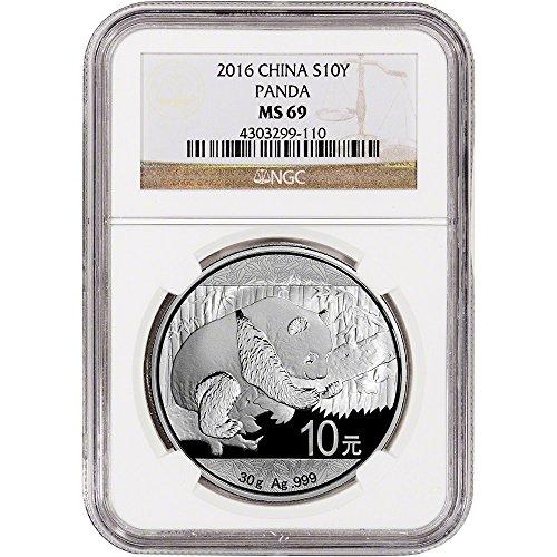 2016 China Silver Panda (30 g) 10 Yuan MS69 NGC