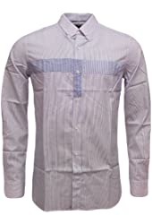 French Connection Men's Fcuk Shirt Long Sleeve Thin Stripe Button Down Collar