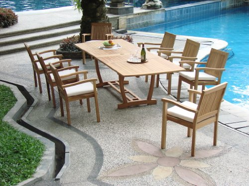 Best price new 9 pc luxurious grade a teak dining set for Best patio set deals