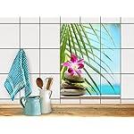 Dekor-Fliesen, Badfliesen | Fliesentattoo Küche Bad ergänzend zu Kühlschrankmagnet Wandtattoo | 20x25 cm Design Motiv Lotus Flower - 9 Stück