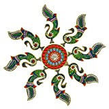Creations 9 Piece Wooden Rangoli With Kundan Work RAN0003 (45 Cm * 45 Cm * 0.5 Cm)