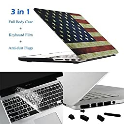 Hat-Prince 3 in 1 Protective Case with TPU Keyboard Film and Anti-dust Plugs for MacBook Pro with Retina Display , 13.3\