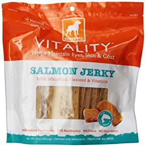 Dogswell Vitality Treats for Dogs, Salmon Jerky, 15-Ounce Package