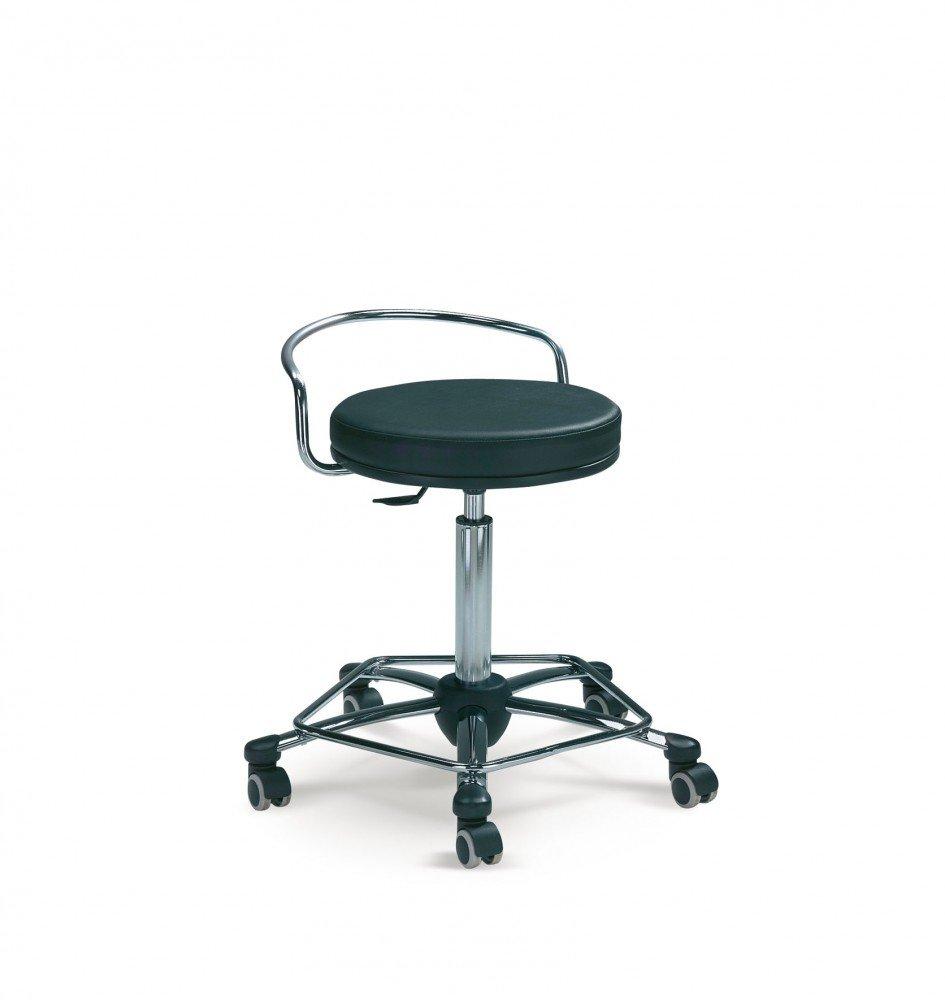 Mayer Sitzmöbel Drehrollhocker Arbeitsdrehhocker 1254 Gestell chrom Sitz rund gepolstert Bezug Stoff oder Kunstleder Bezug Kunstleder 26462