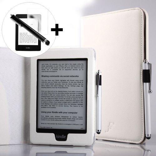 ForeFront Cases® Hülle für Kindle Paperwhite 3G + WLAN 6 Zoll – Kunstleder – magnetische Auto Sleep/Wake-Funktion – inklusive Eingabestift & Displayschutz – Weiß