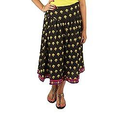 INDRICKA Black colour Bio-silk (Modal) Skirt for womens.