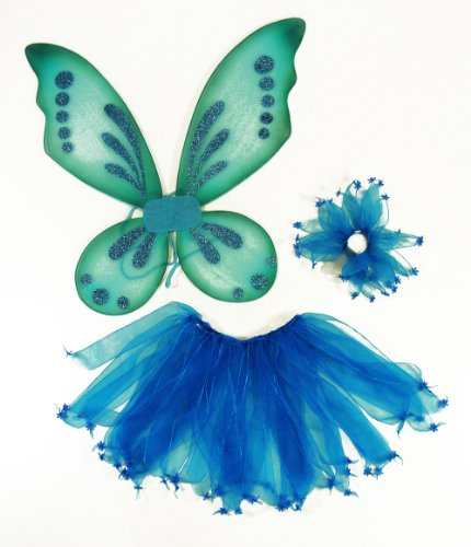 3 Piece Girls Pixie Fairy Costume Wing, Tutu, Hair-tie (Pony-O). Select Color: Blue