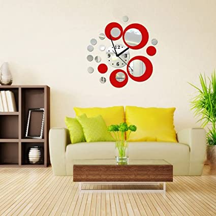 Red and Silver Rounds Wall Clock Mirror Wall