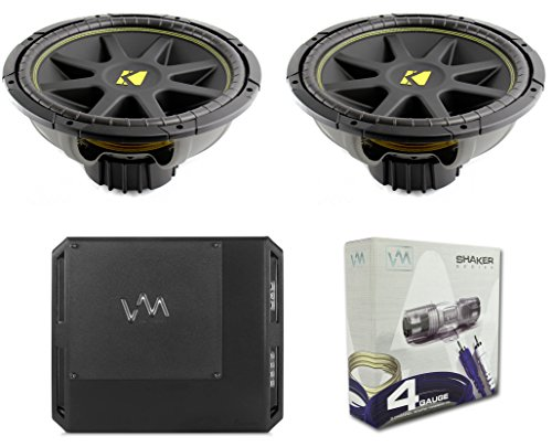 "2) KICKER C15 15"" 1200W Dual 4-Ohm Comp Subwoofers + Class D 1-Ohm Amp + Wiring"