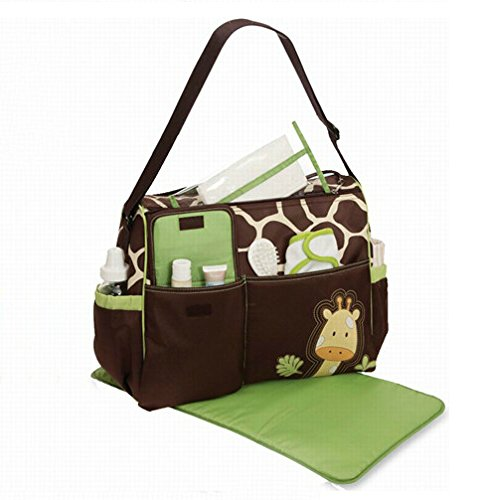 Multifunctional Large Capacity Fashion Cartoon Pattern Baby Diaper Nappy Bag Mummy Bag Giraffe Diaper Bag With front-121977