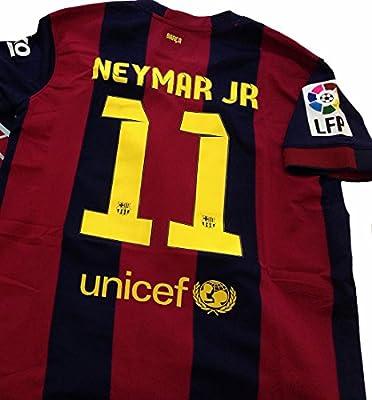 Neymar Jr #11 New Barcelona Soccer Shirt Home Jersey 2014/15 (Large)