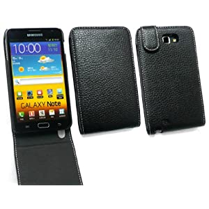 FLASH SUPERSTORE SAMSUNG GALAXY NOTE N7000 GENUINE LEATHER LEATHER FLIP CASE/COVER/POUCH BLACK + SCREEN PROTECTOR