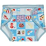 Square Brand Premium Quality Baby Joy Pack Of 6 , Blue , Inside Terry Towel Outside Printed Plastic , Multisize, Washable Reusable Padded Cushioned Diaper/Langot Nappies For Baby Very Comfortable.