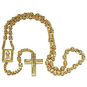 Mens 18k Yellow Gold Plated Hip Hop Style 30 Inch Long 8 Inch Drop Iced Out Yellow Cubic Zirconia Rosary Chain Necklace Bezel Set Lobster Clasp