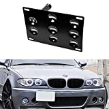 iJDMTOY Front Bumper Tow Hole Adapter License Plate Mounting Bracket For BMW E36 E46 3 Series, E60 E61 5 Series, E63 E64 6 Series, E53 X5, MINI Cooper R50 R52 R53 R55 R56 R57 R58 R59