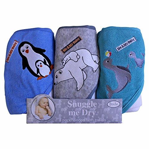 A forma di pinguino con orso polare, Set di 3 asciugamani con cappuccio, Frenchie Mini Couture