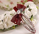 Blingys Classic Oval Shaped Crystal Rhinestone Style Hair Clips/Barrette/Duck Bill Clip/Hairpin/Bobby Pin With Bow One Piece Set (Packed With Our Blingys Bag) (Red)