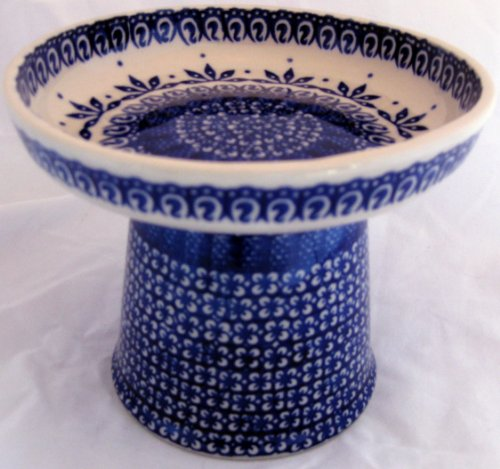 Polish Pottery Raised Stoneware Food Dish or Water Bowl - Old Poland