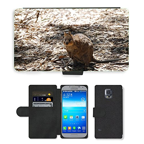 PU LEDER LEATHER FLIP CASE COVER HÜLLE ETUI TASCHE SCHALE // M00135329 Quokka Tier Australien Wild // Samsung Galaxy S5 S V SV i9600 (Not Fits S5 ACTIVE)