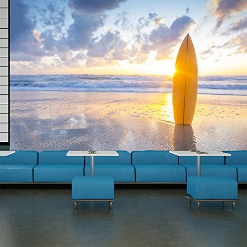sunset-over-surfboard-on-white-sands-beach-sea-wall-mural-sports-photo-wallpaper-available-in-8-size