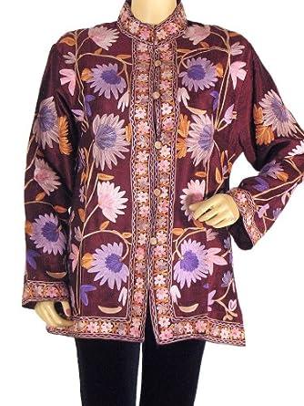 Maroon Ladies Jacket Dress Full Embroidery 100% Silk Handmade Coat Clothing L