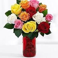 One Dozen Long Stemmed Rainbow Roses…