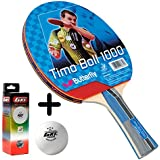 Butterfly Timo Boll 1000 Table Tennis Combo (Butterfly Timo Boll 1000 Table Tennis Bat + GKI Premium 3 Star 40 Table Tennis Ball, Box Of 3 - White)