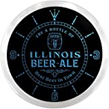 ncpn2013-b ILLINOIS Best Beer Ale in Town Bar LED Neon Sign Wall Clock