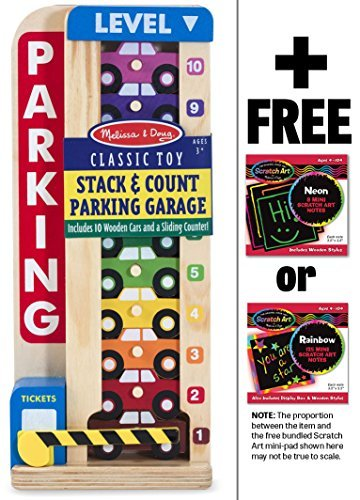 Wooden-Stack-Count-Parking-Garage-Classic-Toy-FREE-Melissa-Doug-Scratch-Art-Mini-Pad-Bundle-51828