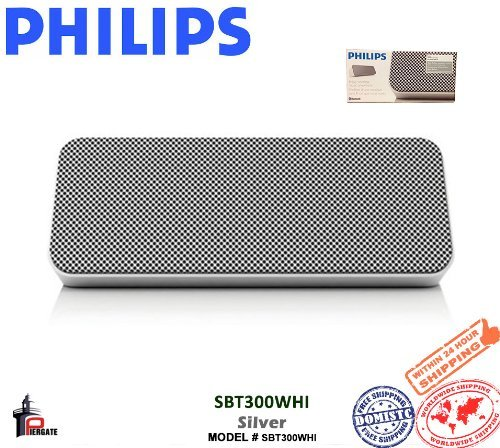 Philips Sbt300Whi/37 Portable Wireless Bluetooth Bass Reflex Speaker, White