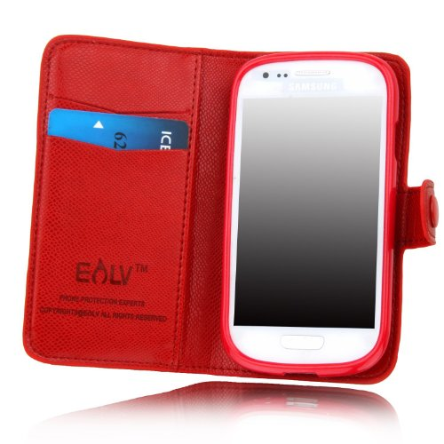 E Lv Deluxe High Quality Pu Leather Wallet Flip Case Cover For Samsung Galaxy S3 Mini I8190 (Not For Samsung S3) (Red, Samsung S3 Mini)