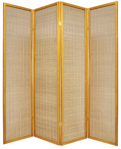 Unique Light Portable Folding Accordian Partition - 6ft. Serenity Japanese Shoji Floor Screen Room Divider - 4 Panel Honey