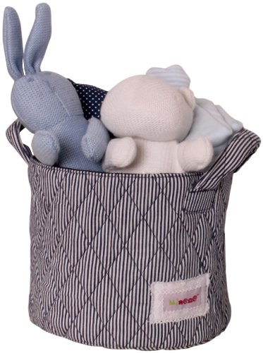 Minene UK Ltd Storage Basket with Stripes (Small, White/ Navy)