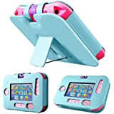 Evecase Kid-Friendly Faux Leather Wallet Stand Case Cover for VTech InnoTab 3S The Wi-Fi Learning Tablet - Blue