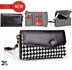 [Mink] Samsung I8190 Galaxy S III mini Case | Women's Wallet Wristlet Clutch - BLACK & WHITE CHECKERED FUR. Bonus Ekatomi Screen Cleaner
