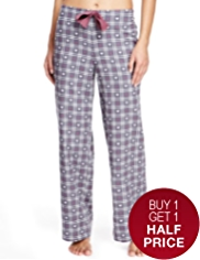 Pure Cotton Dobby Heart & Checked Pyjama Bottoms