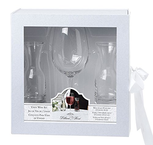 Lillian Rose 9-Inch Wine Glass and 6-Inch 2 Carafes Ceremony Set, Clear