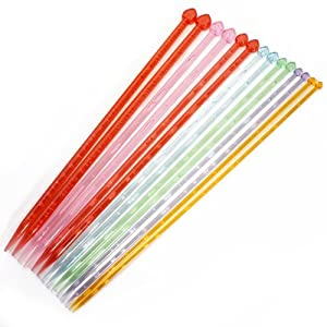 7 Sets Plastic Handle Single Pointed Knitting Needle - Random Color