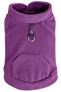 EXPAWLORER Fleece Autumn Winter Cold Weather Dog Vest Harness Clothes with Pocket , Purple Small