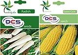 DCS Radish & Sweet Corn Seeds(Pack of 2 Per Pack 50 Seeds)
