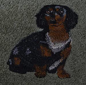 Bath Towel Set with Embroidered Dachshund dog - Beige