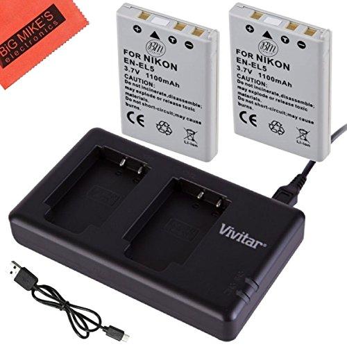 BM Premium 2-Pack of EN-EL5 Batteries and USB Dual Battery Charger for Nikon Coolpix P80, P90, P100, P500, P510, P520, P530 Digital Camera (Coolpix P510 Battery compare prices)