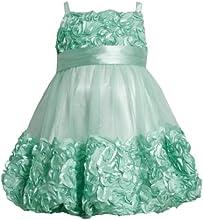 Bonnie Jean Girls 2T-4T Mint-Green Metallic Bonaz Border Mesh Bubble Dress