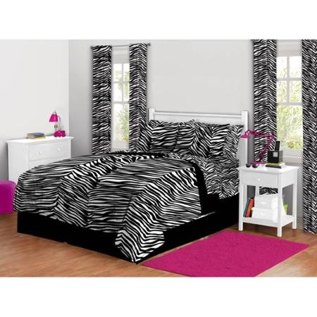 twinxl-5-piece-black-and-white-stripes-zebra-print-complete-bed-in-a-bag-bedding-set